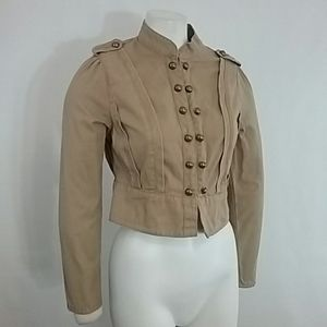 Mixit Crop Jacket 7tznMilitary Styling Tan NWT